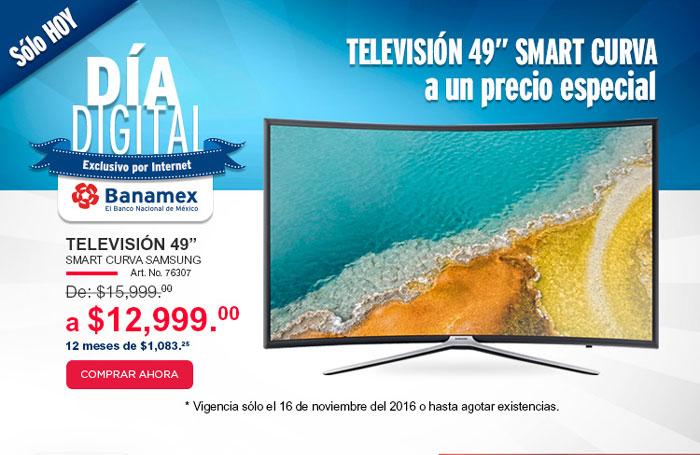"""Office Depot: Día Digital Banamex exclusivo por Internet. Televisión 49"""" Smart Curva Samsung de $15,999 a $12,999 sólo hoy"""