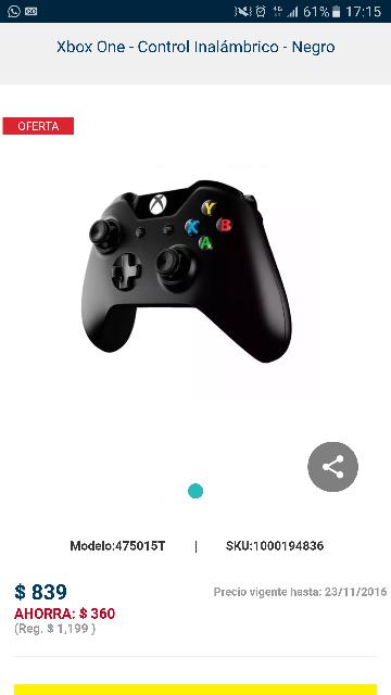 Best buy: Control Inalámbrico Xbox One con entrada 3.5 mm $839 y con carga y juega $1049 más  $100 de cupón