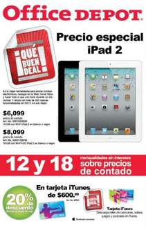Office Depot: iPad 2 a $6,099 y hasta 18 meses meses sin intereses