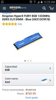 Amazon: memoria RAM 8GB Hyperx Fury Kingston