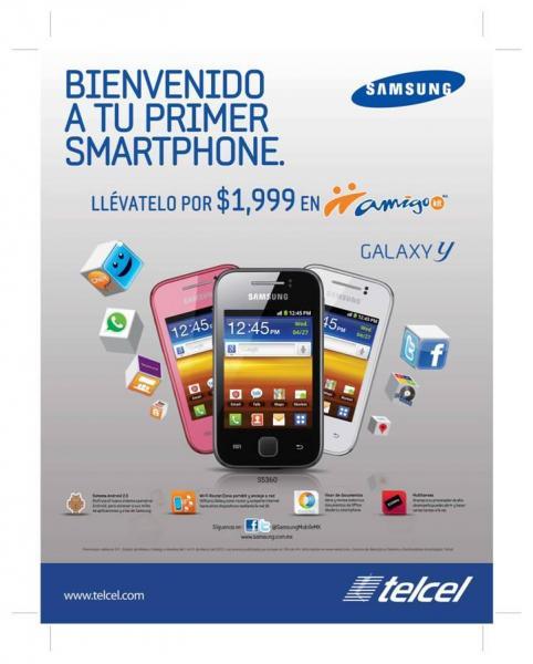 Smartphone Samsung Galaxy Y a $1,999 en Amigo Kit