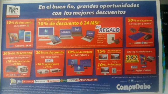 Ofertas Buen Fin 2016 CompuDabo: folleto de ofertas