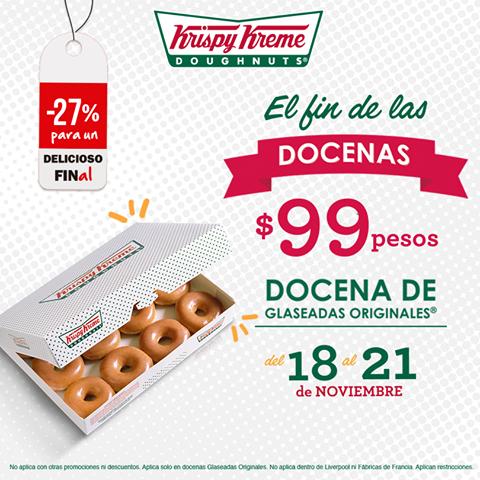 Buen Fin 2016 Krispy Kreme: a $99 Docena de Glaseadas Originales del 18 al 21 de Noviembre
