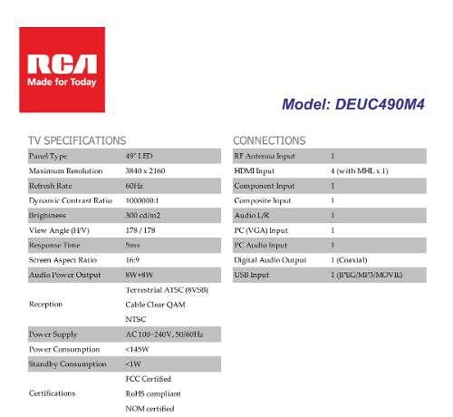 Tienda oficial RCA en Mercadolibre: Televisión RCA 49' 4K UHD