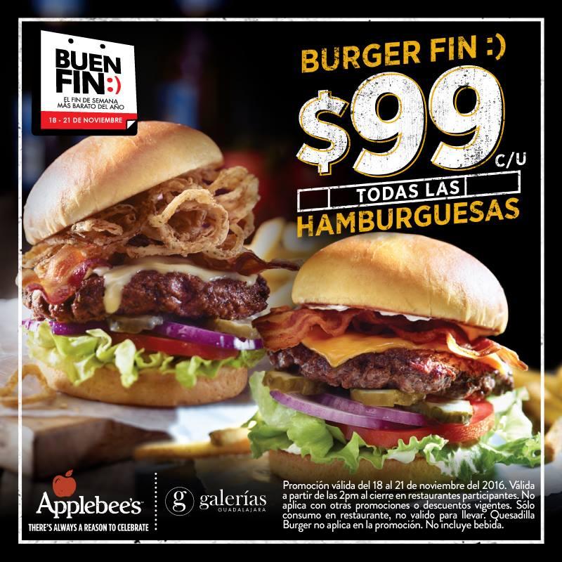 El Buen Fin 2016 en Applebee's: todas las hamburguesas $99