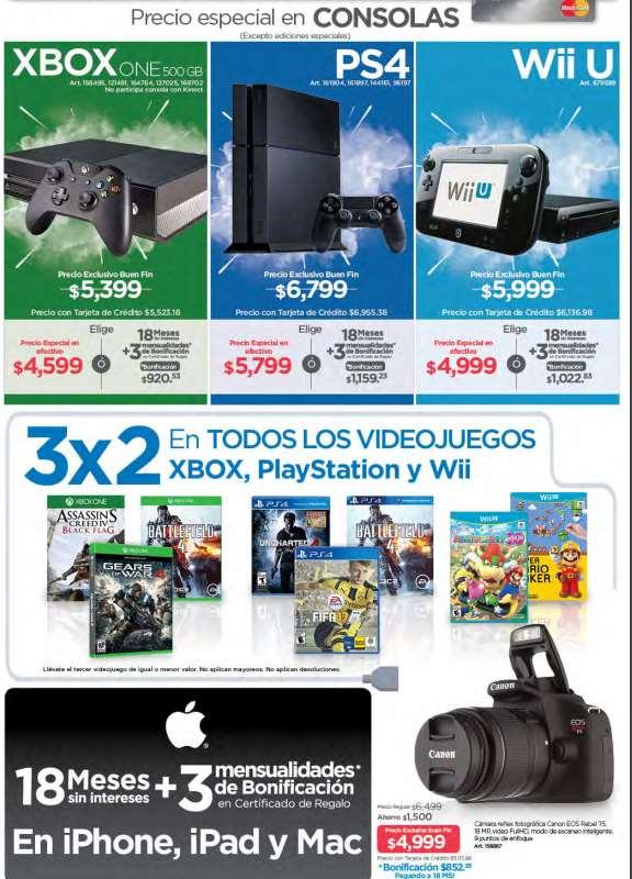 Folleto de ofertas del Buen Fin 2016 en Sam's Club: Xbox One $4,599, 3x2 en videojuegos y más