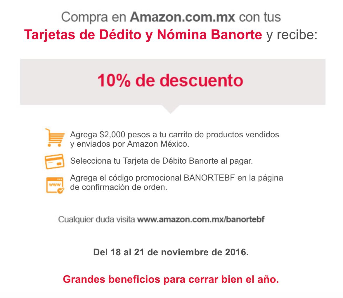 Buen Fin 2016 Amazon: 10% de descuento con Débito y Nómina Banorte
