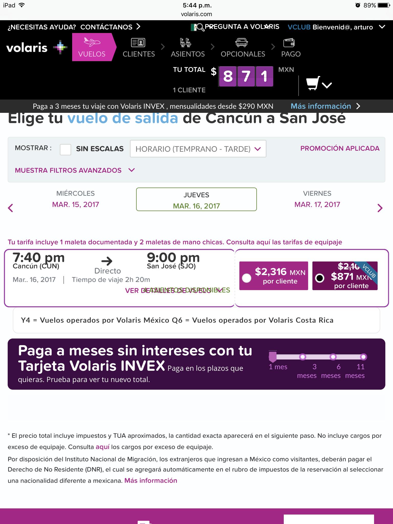 Volaris: vuelo sencillo Cancún-San José,CR