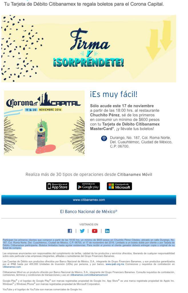 Banamex: Boletos del Corona Capital hoy con compra minima a partir de las 6PM en Chuchito Perez