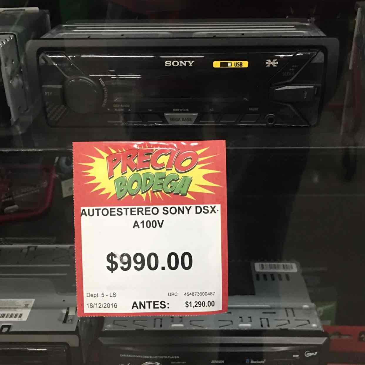 Bodega Aurrerá: Autoestéreo Sony DSX-A100V a $990