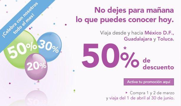 Volaris: 50% de descuento al DF, GDL y Toluca, 30% a Tijuana y 20% a EUA
