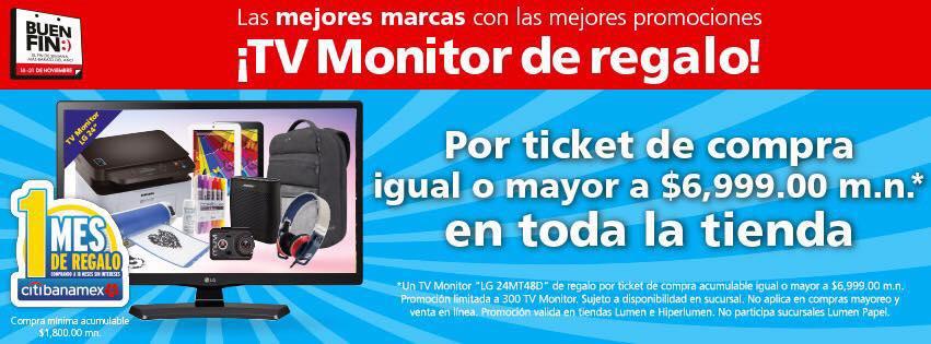 """El Buen Fin 2016 en Lumen: TV monitor LG 24"""" gratis con compra mínima"""