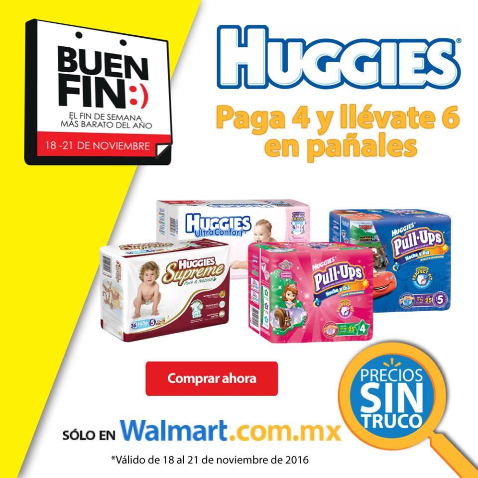 El Buen Fin 2016 en Walmart: 6x4 en pañales Huggies y KleenBebé