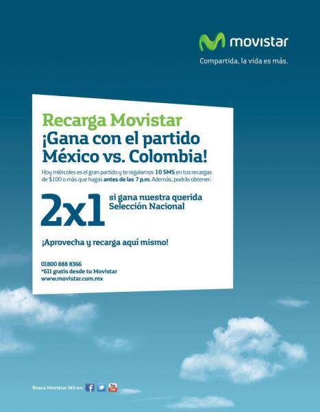 Movistar: recarga $100 o más y recibe 10 mensajes gratis y si México gana, doble tiempo aire