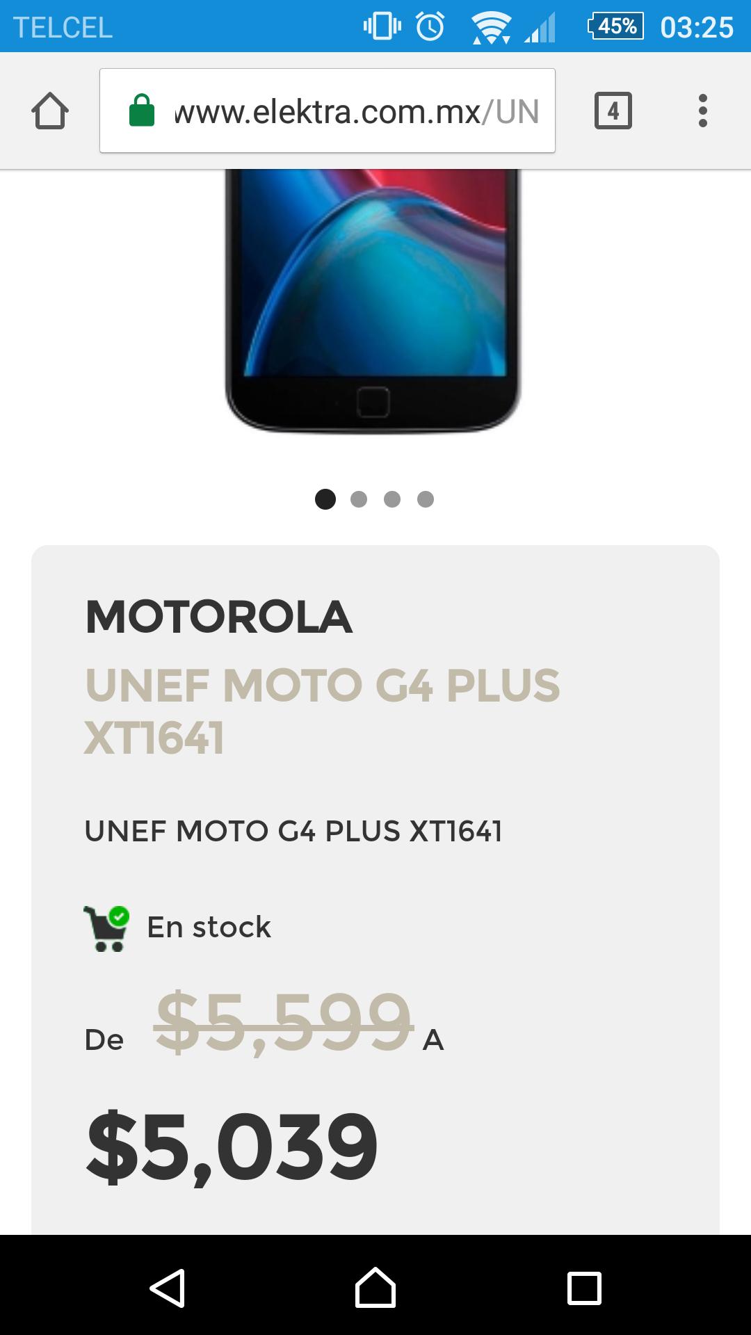 Buen Fin 2016 Elektra: Unefon Moto G4 Plus XT1641 a $5,039 + 18 MSI