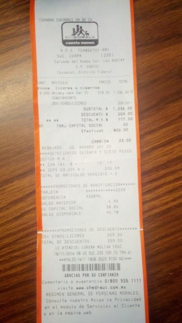 Chedraui Coapa: Gentlemen Jack de $518 (precio lista, que ya es barato) a $388.50 (con descuento Buen Fin)