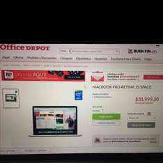 "Office Depot: MacBook Pro 15"" 16gb RAM 256 disco. procesador intel i7"