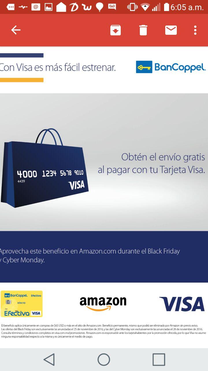Promociones Bancoppel: Envío gratis en compras iguales o mayores de $65 USD en Amazon.com