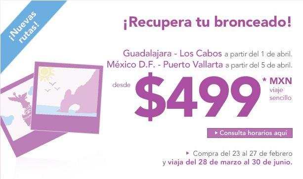 Volaris: nuevas rutas a Vallarta, Canc[un y Los Cabos desde $499 (sencillo)