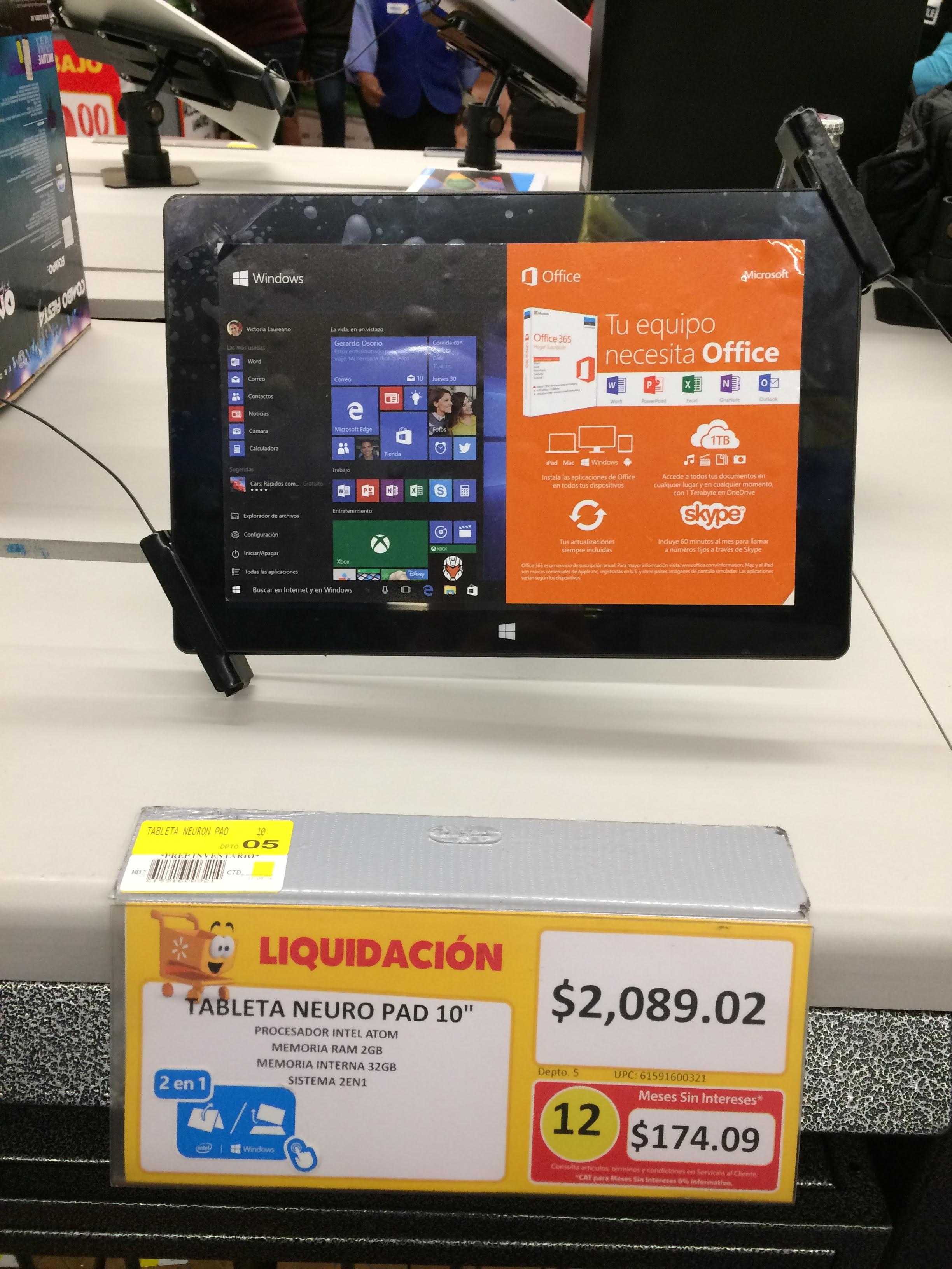 Walmart: Tablet Lanix Neuron PAD a $2,089.02