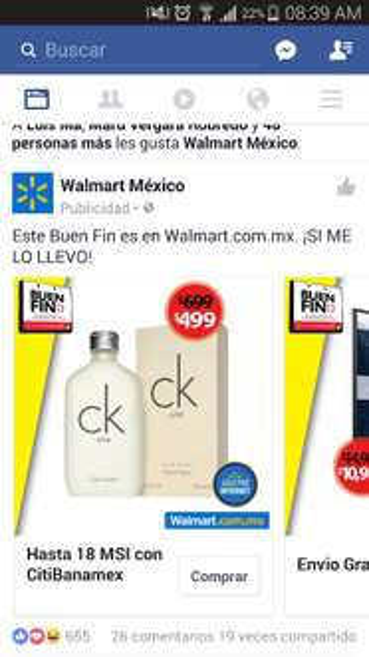 Buen Fin 2016 Walmart: Calvin Klein One