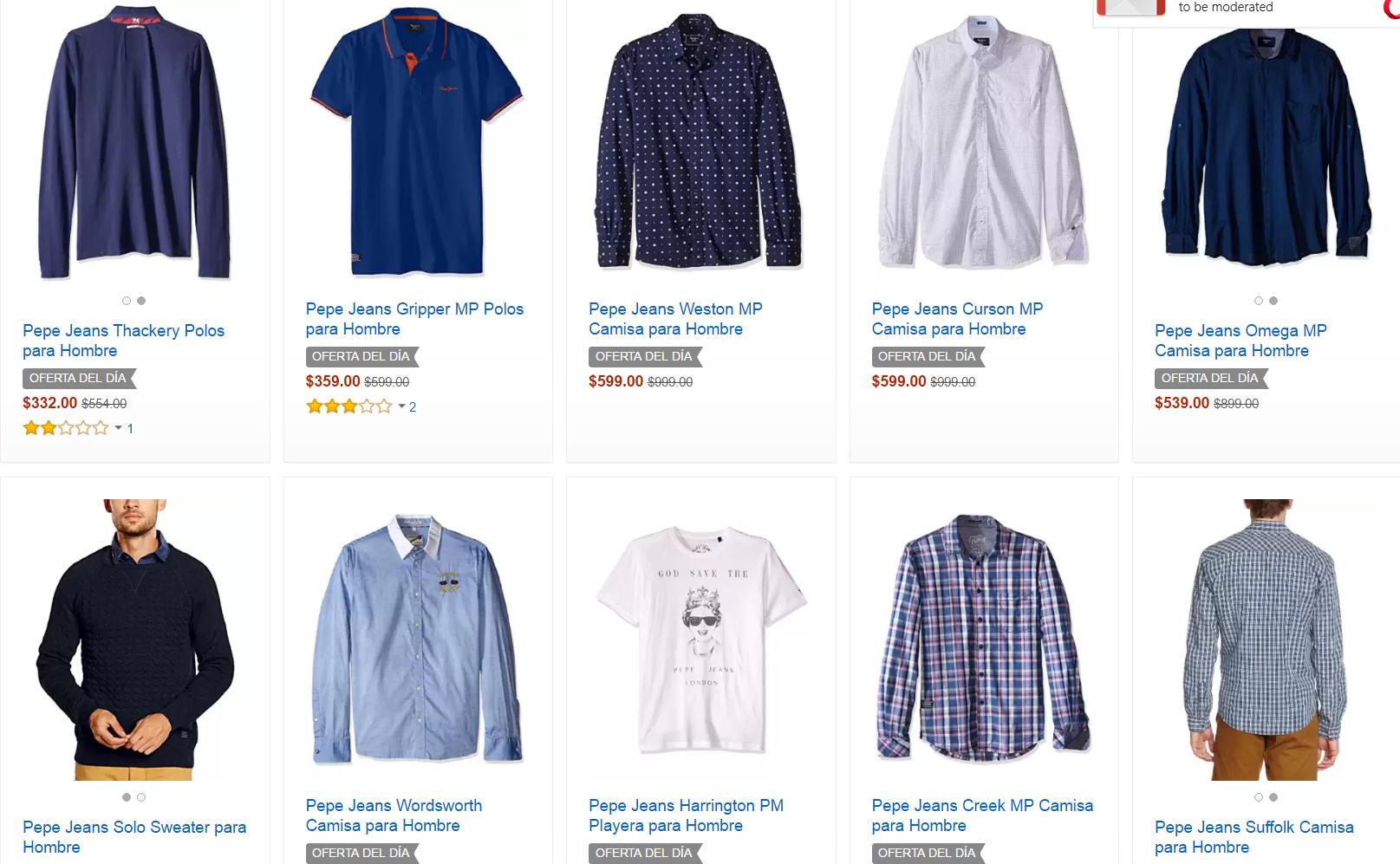 Buen Fin 2016 Amazon: Pepe Jeans Ropa con 50% de descuento