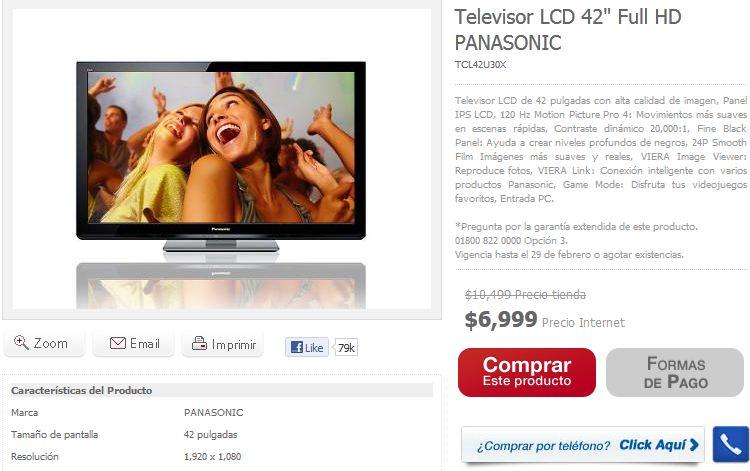 """Famsa: pantalla LCD Panasonic de 42"""" $6,999 y 18 meses sin intereses"""