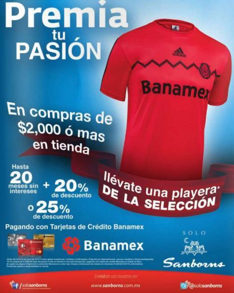 Sanborns: venta especial Banamex y playera de la selección gratis en compra mínima