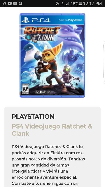Buen Fin 2016 Elektra: PS4 Videojuego Ratchet & Clank