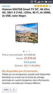 "Amazon: pantalla 4k uhd Hisense 50"" 120hz. smart $8498"