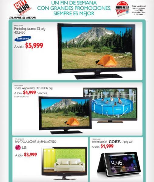 """City Club: pantalla 43"""" Samsung $5,999, todas las pantallas LCD 32"""" a $4,999 y más"""