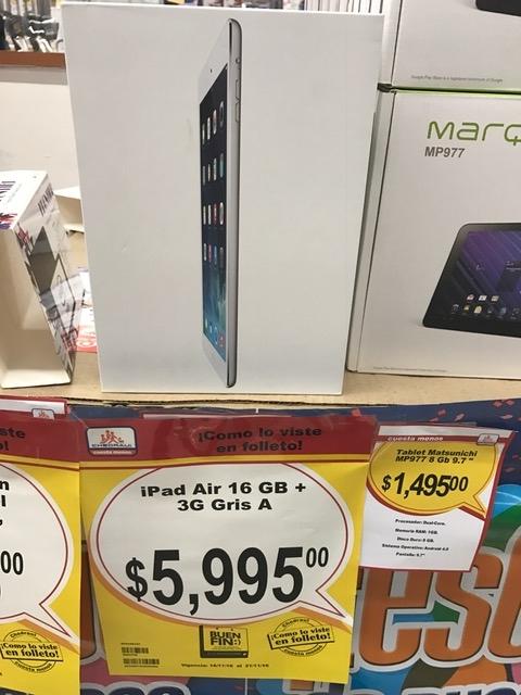 Buen FIn 2016 Chedraui iPad Air 16Gb + 4G cellular $5,995 con $1,500 de bonificacion