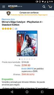 Buen Fin 2016 Amazon Mx : Mirrors edge catalyst PS4 $299
