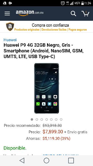 Buen Fin 2016 Amazon: Huawei p9 32 gb $7,899 (vendido y enviado por un tercero)