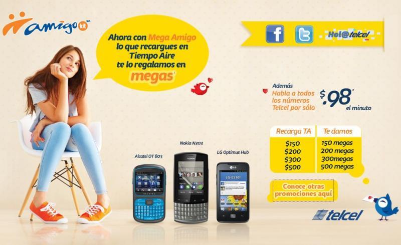 Mega Amigo de Telcel: datos gratis con tus recargas de tiempo aire