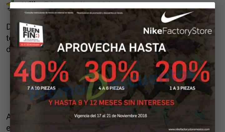 Nike Factory Store: 30% adicional a las rebajas del Buen Fin