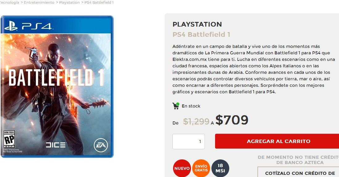 El Buen Fin 2016 en Elektra: Battlefield 1 PS4 y Xbox One $709
