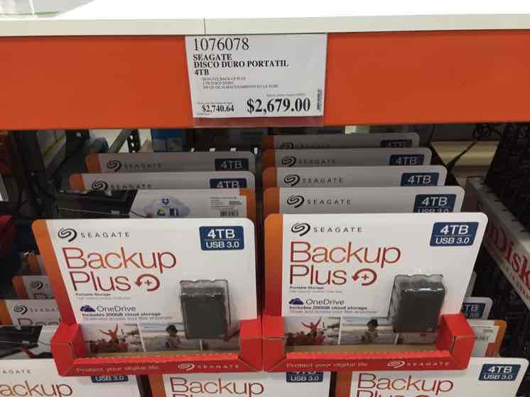 Costco: Disco Duro externo 4TB Seagate (alimentación USB)