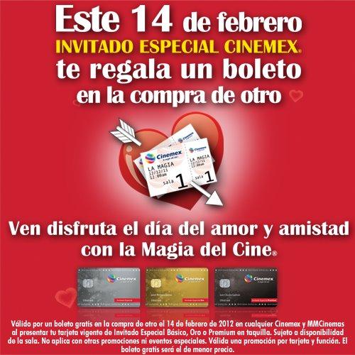 Cinemex: 2x1 este 14 de febrero con tarjeta de Invitado Especial