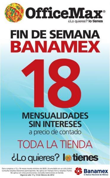 OfficeMax: fin de semana Banamex con 18 meses sin intereses