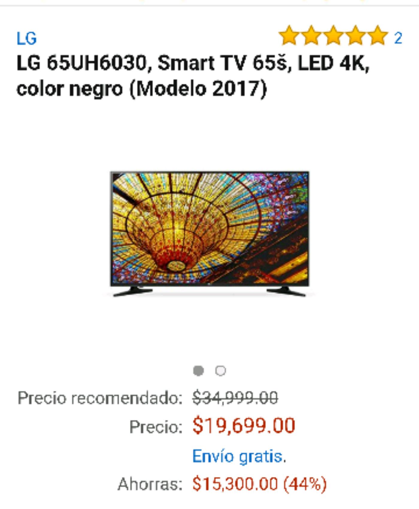 Buen Fin 2016 Amazon: LG 65UH6030, Smart TV 65š, LED 4K, color negro (Modelo 2017)