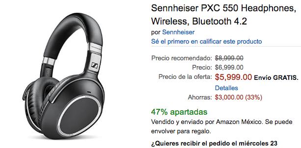 Buen FIn 2016 Amazon: Sennheiser PXC 550, $4,950 con AMEX