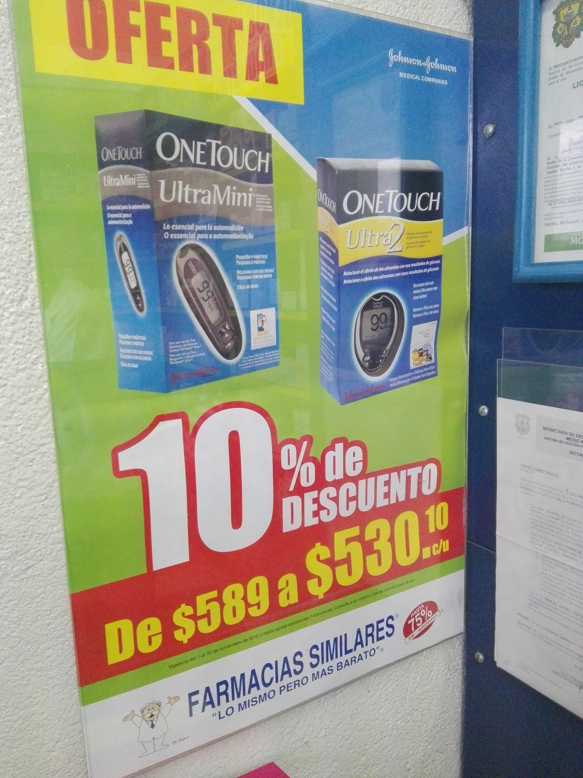 Farmacias Similares: Glucómetro One Touch