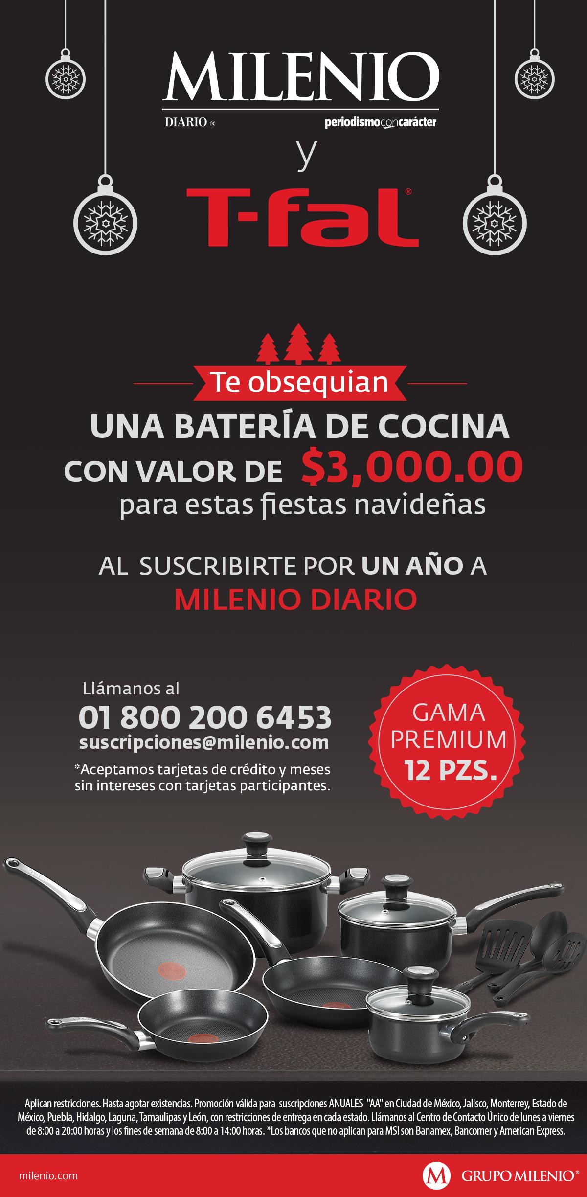Milenio Diario: Batería de Cocina T-Fal gratis con la suscripicón anual