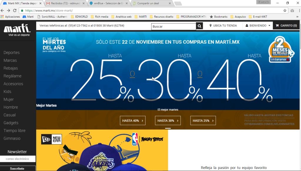 Sólo hoy 25%, 30% y 40% en marti.mx con todas las tarjetas y hasta 2 meses de regalo pagando con Banamex