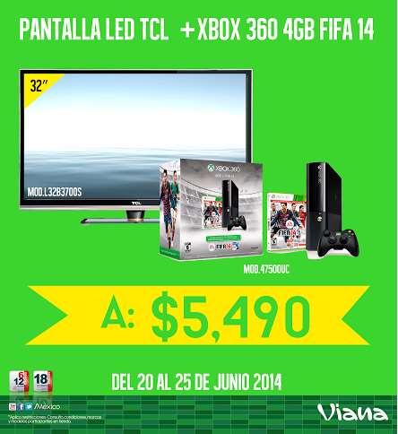 """Viana: pantalla LED 32"""" y Xbox 360 con FIFA 14 $5,490"""