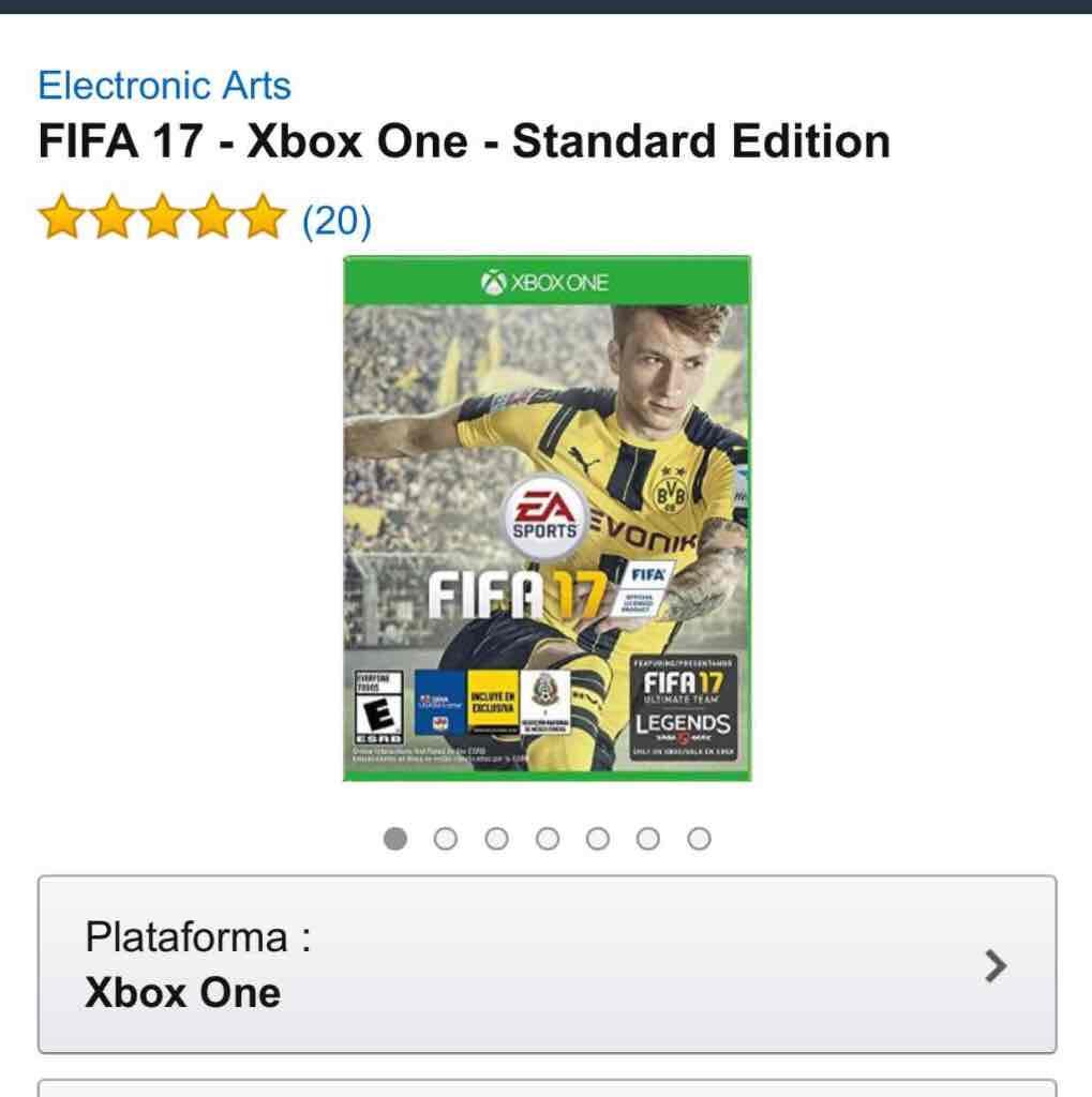 Amazon: Fifa 17 Físico para Xbox One y PS4 a $819