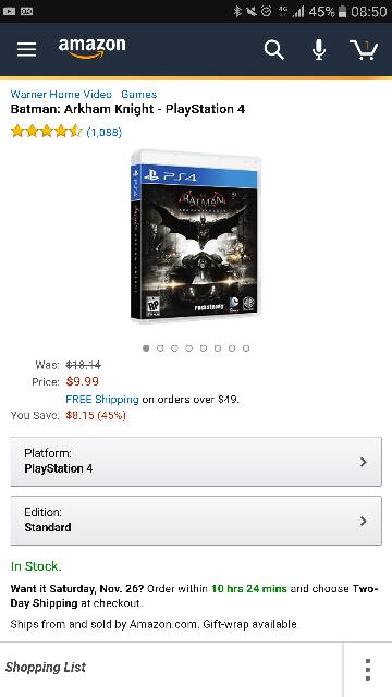 Black Friday 2016 Amazon USA: Batman: Arkham Knight - PlayStation 4
