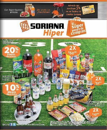 Folleto Soriana Híper: 10% en dinero electrónico en cervezas, 20% o 18 MSI en llantas y más