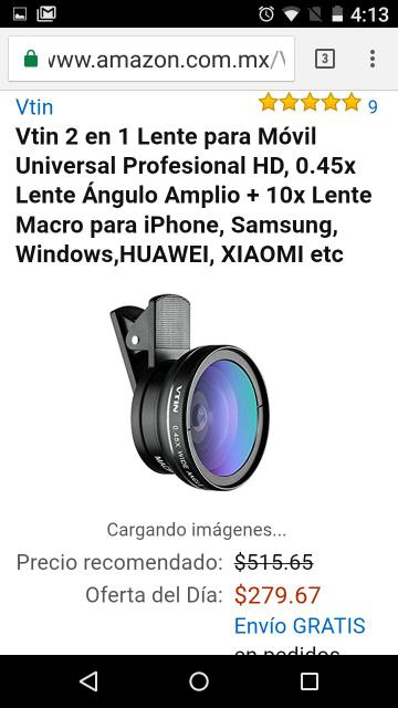 Amazon: lente para movil 2 en 1 profesional, Vtin 2 en 1, 0.45x Lente Ángulo Amplio